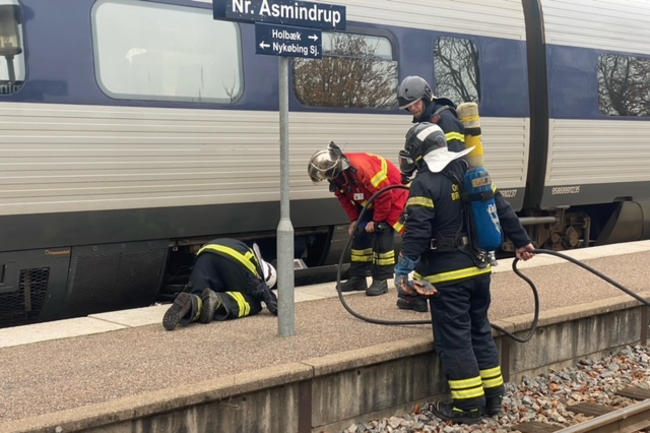 Mindre brand i tog i Nr. Asmindrup